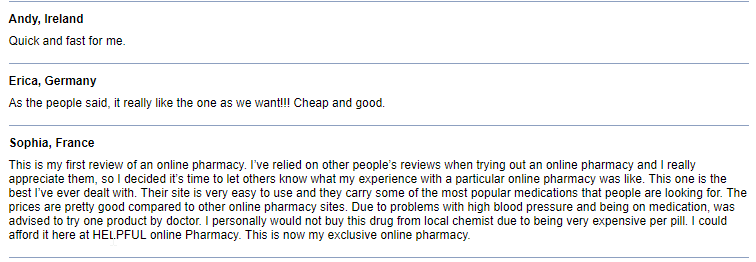 Online Pills Customer Comments